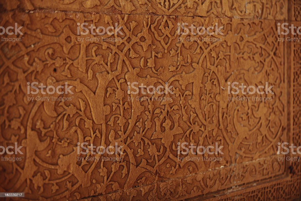 Floral Carved Stone Wall Background stock photo