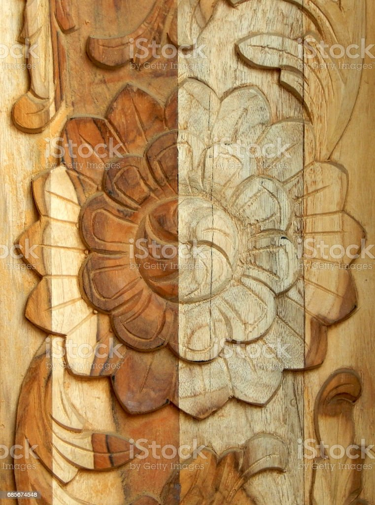 floral carving on wood Background stock photo