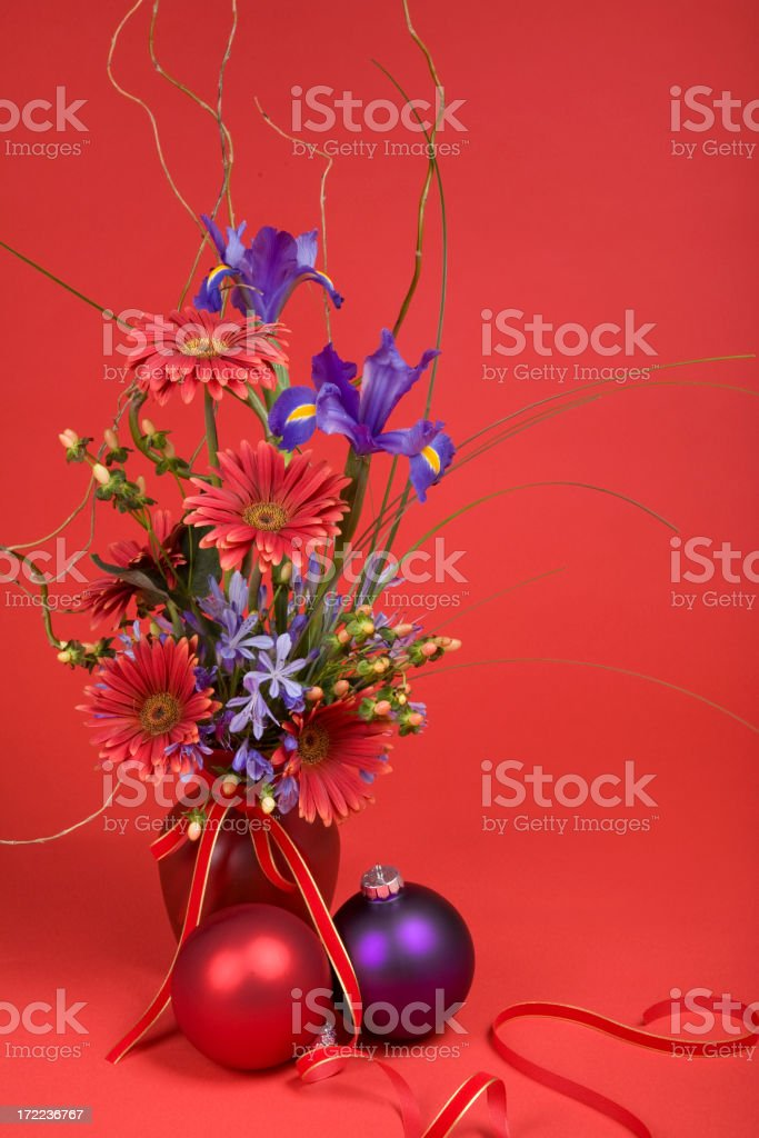 Floral Christmas on Red royalty-free stock photo