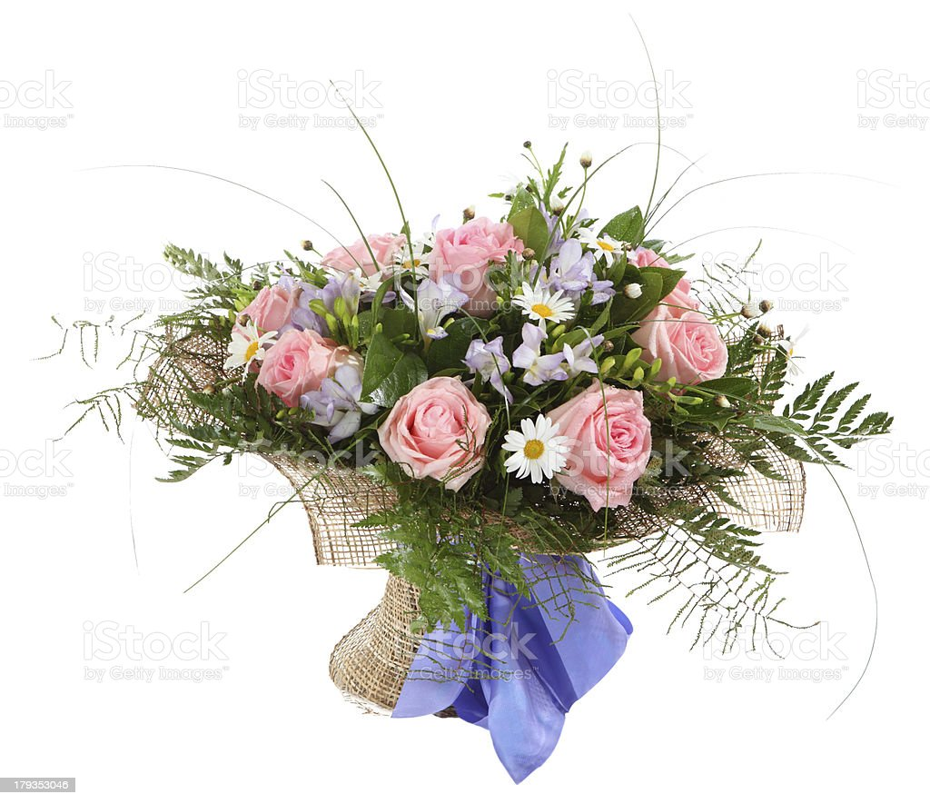 Floral composition, bouquet of white daisies and pink roses. royalty-free stock photo