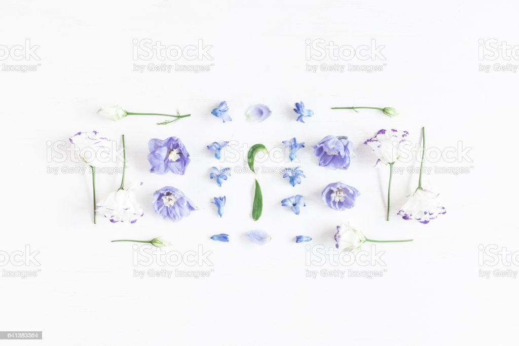 Floral composition made of lilac and white flowers stock photo