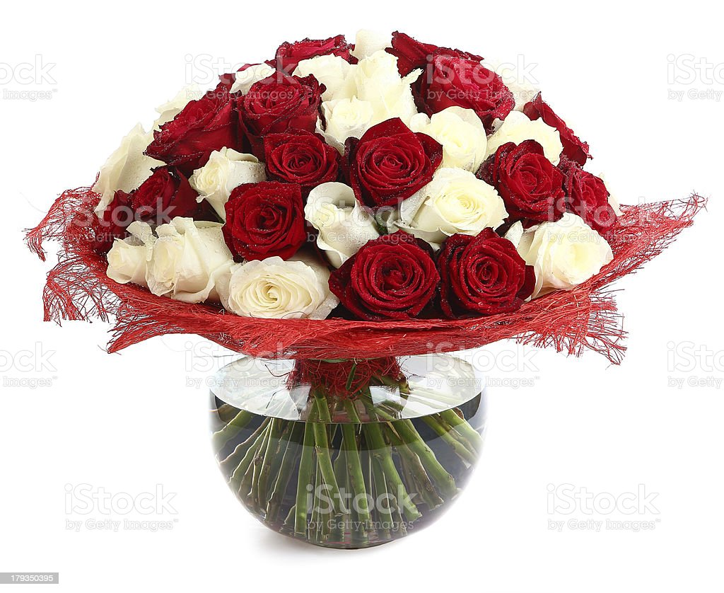 Floral compositions of red and white roses. Large bouquet . royalty-free stock photo