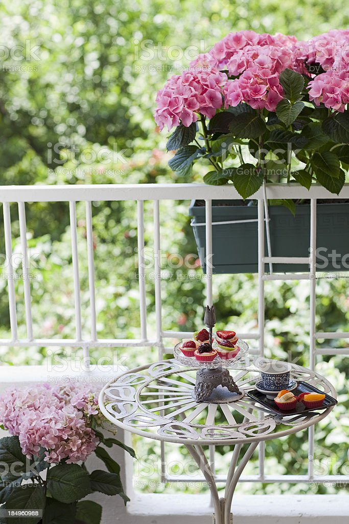 Floral decorated balcony stock photo