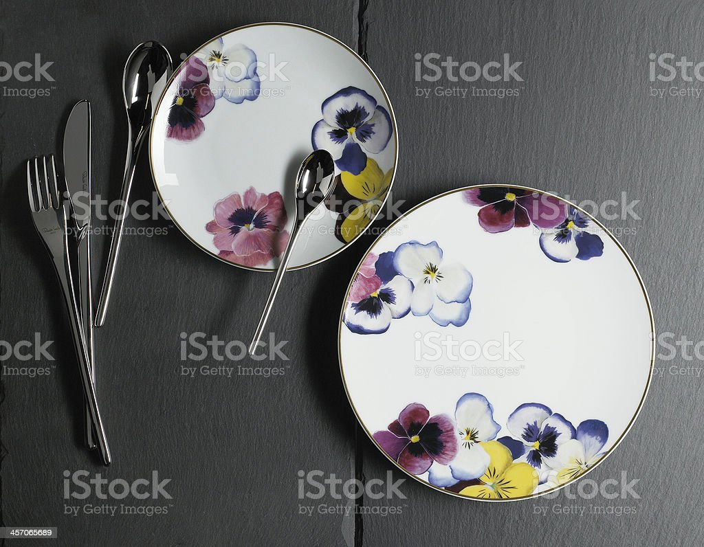 Floral desert plates royalty-free stock photo