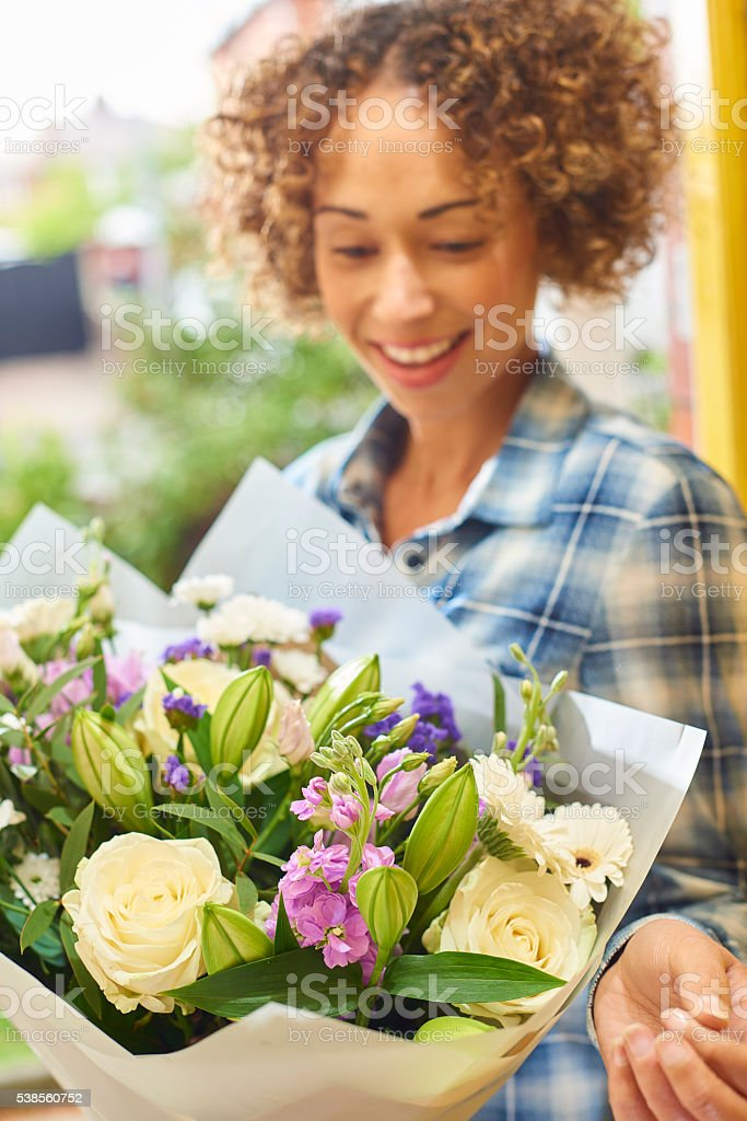 floral doorstep delivery stock photo