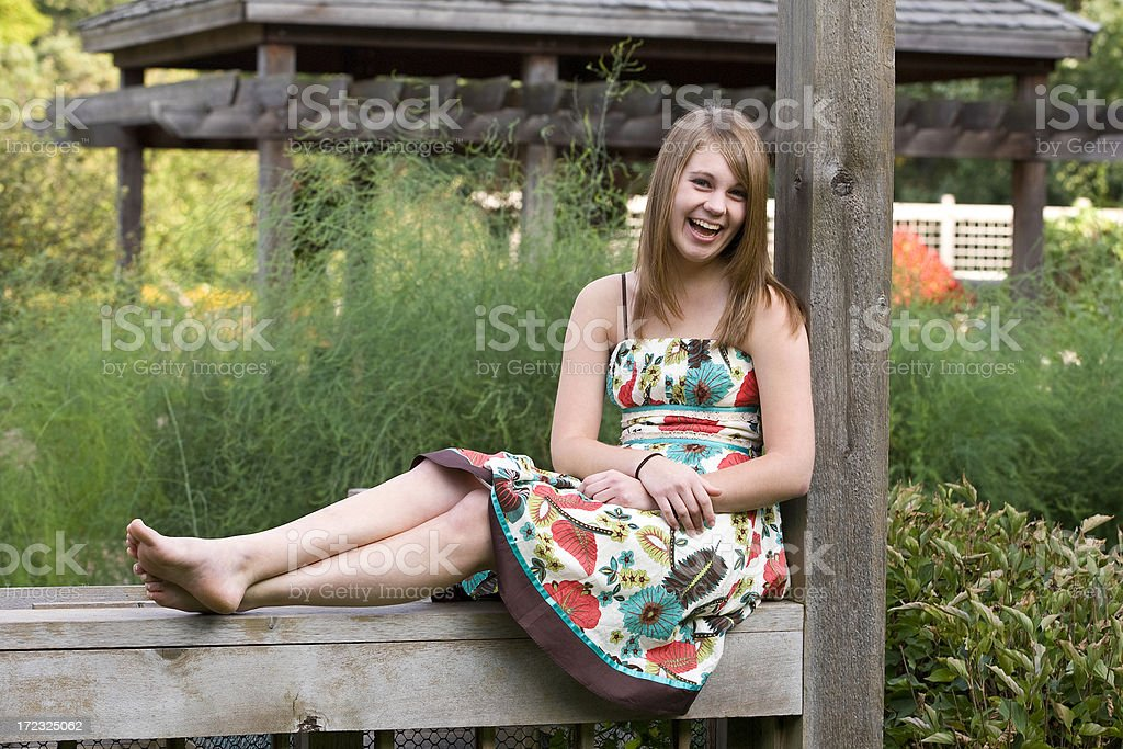 floral dress teen royalty-free stock photo