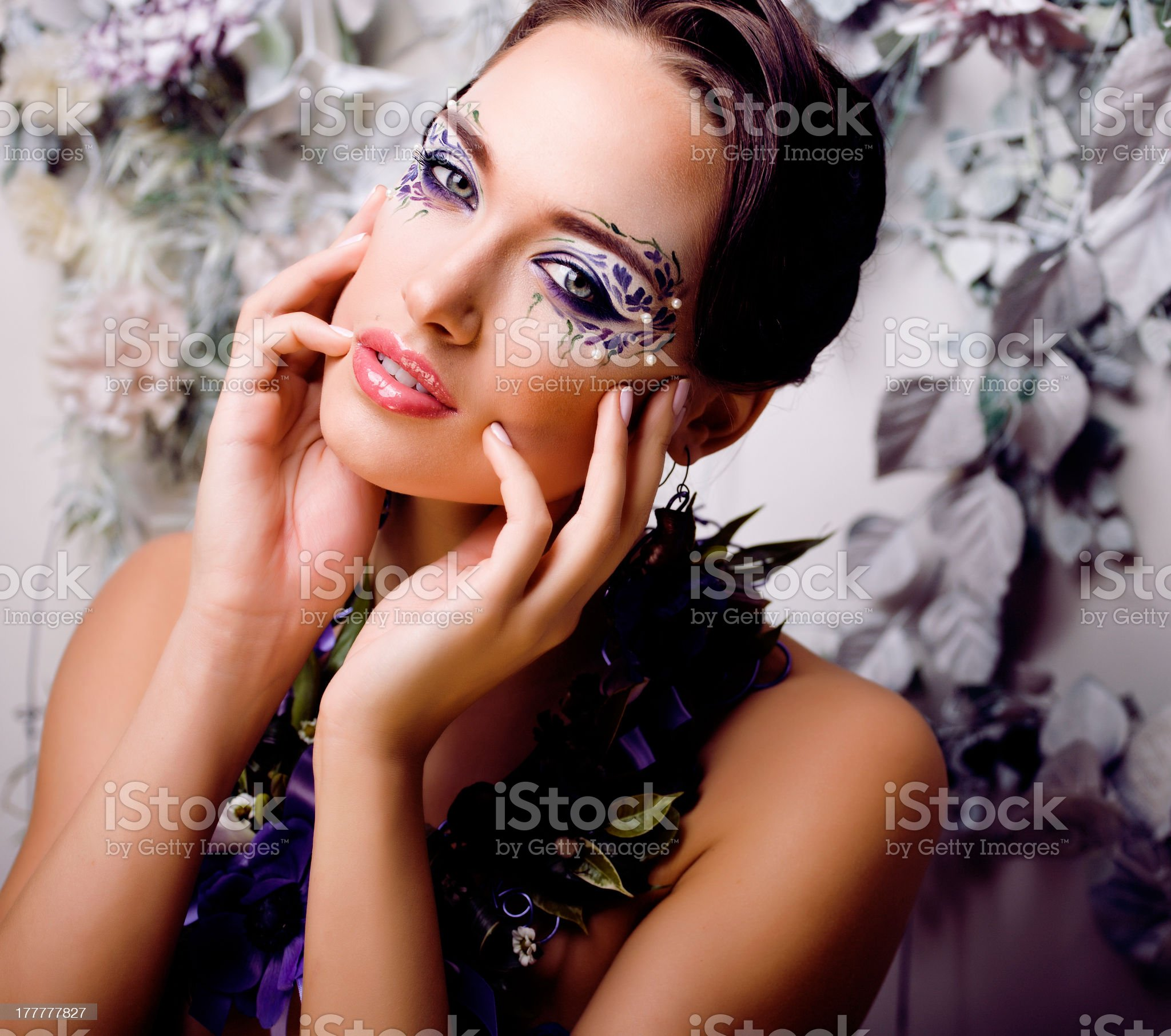 floral face art with anemone in jewelry royalty-free stock photo