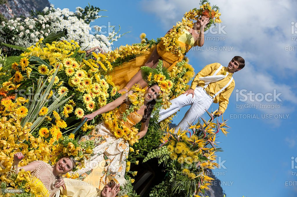 Floral Float at the Madeira Flower Festival Parade, Portugal stock photo