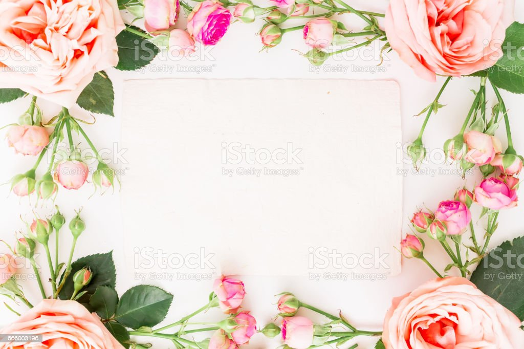 Floral frame of pink roses and paper card for calligraphy on white background. Flat lay, top view. Art background. stock photo