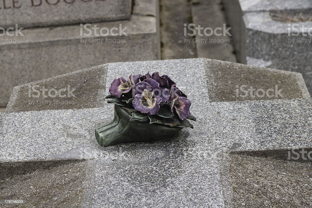 Floral greeting on a tombstone stock photo