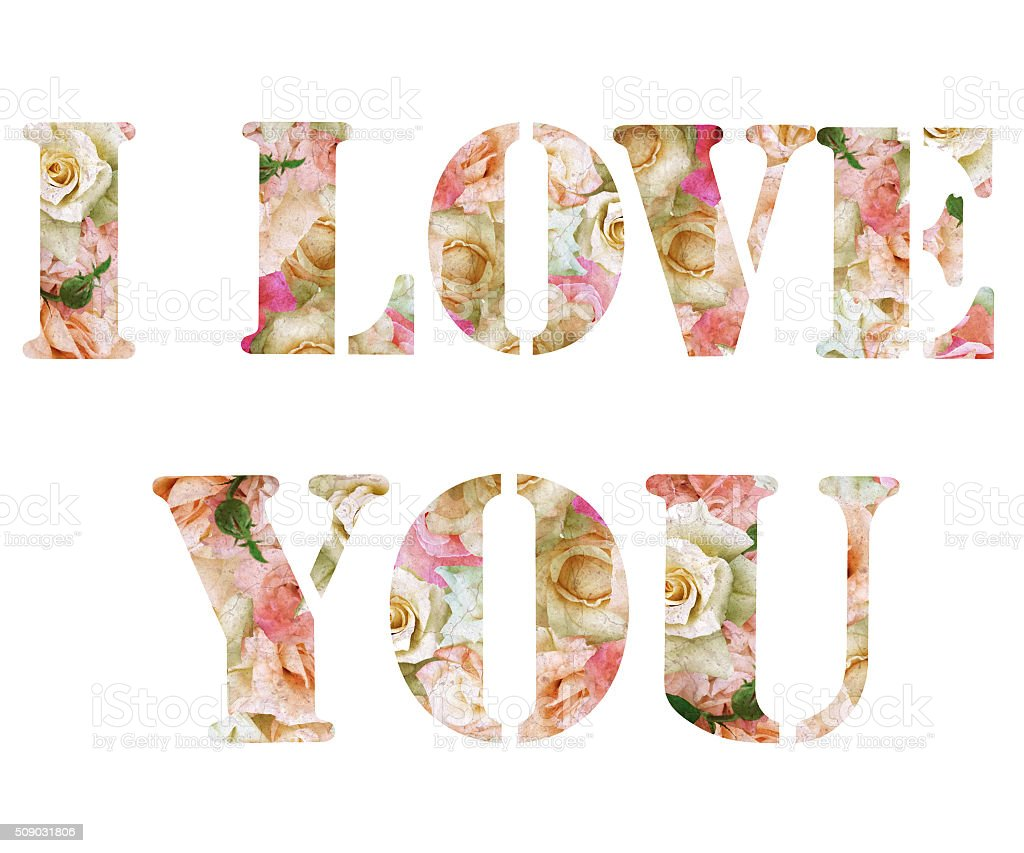Floral love text isolated on white background stock photo