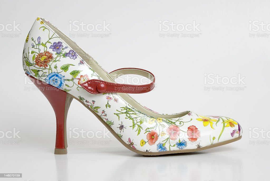 floral mary jane stock photo
