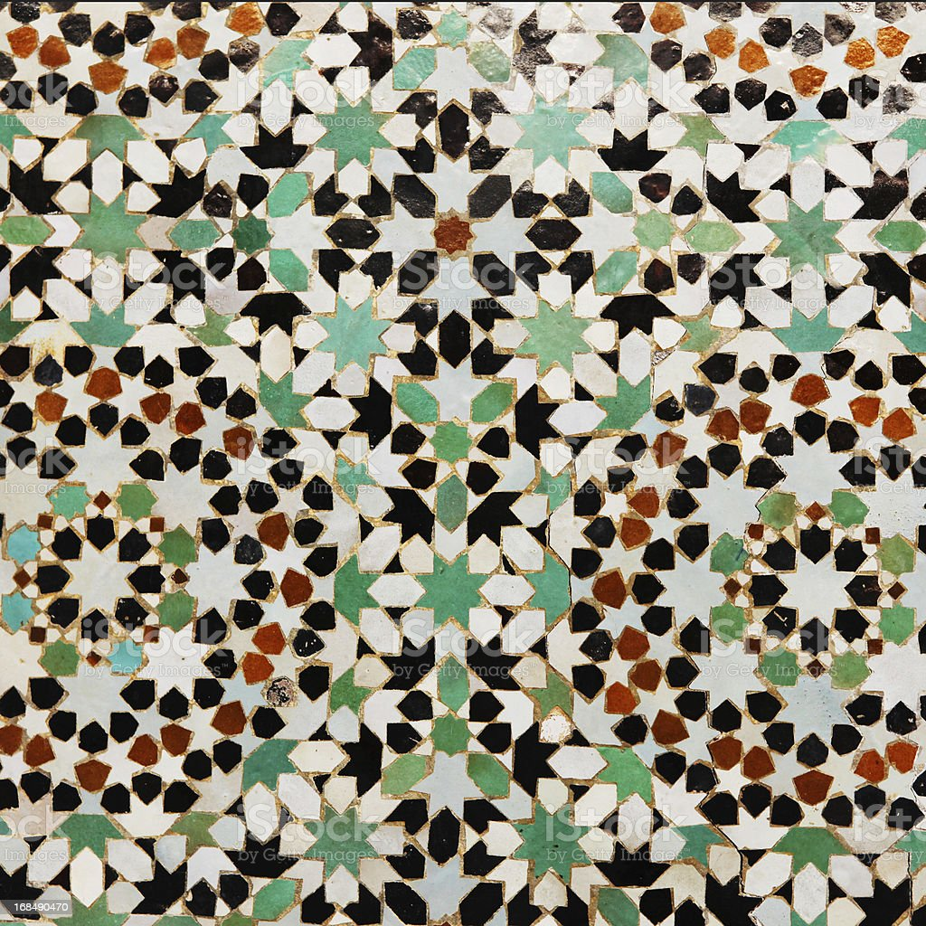 Floral pattern in tiles from Meknes medina, Morocco stock photo