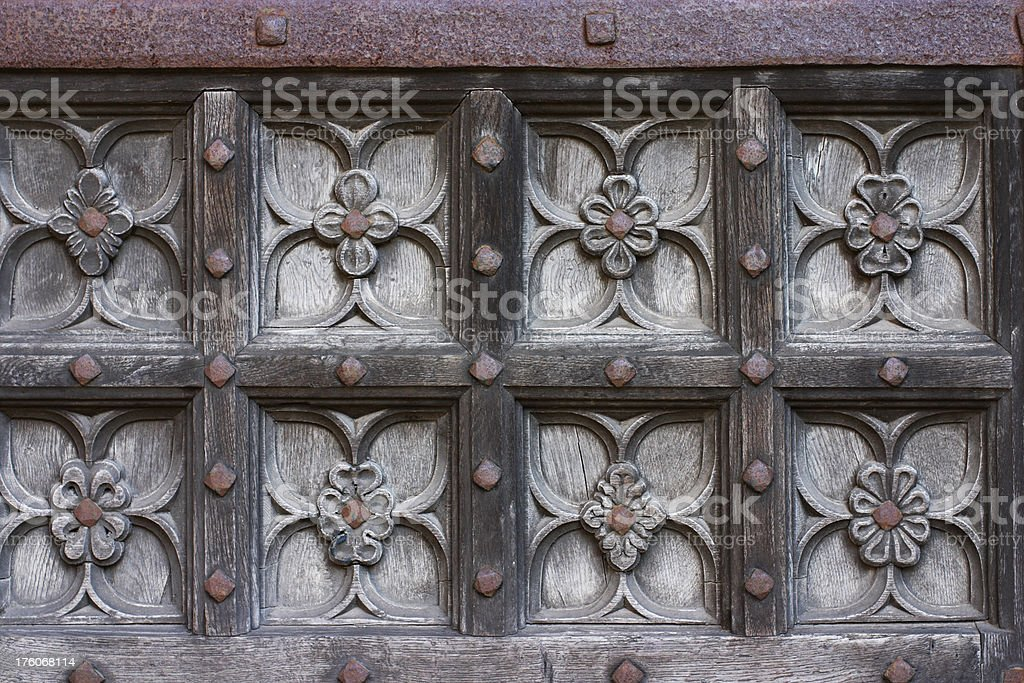 Floral pattern in woodwork of medieval origin royalty-free stock photo
