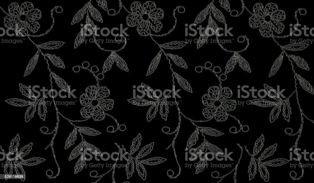 Floral Pattern on black background stock photo