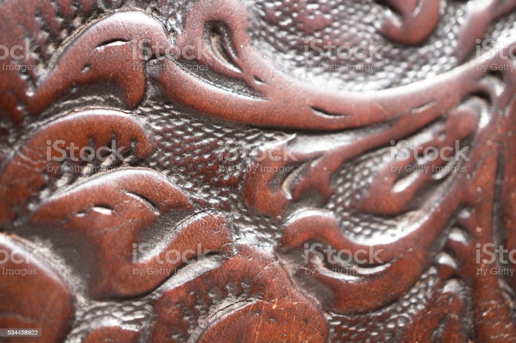 Floral pattern on leather background texture stock photo