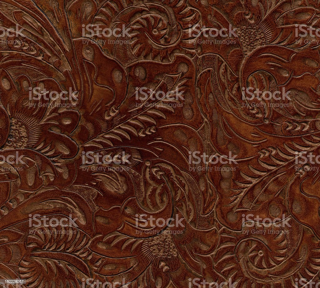 floral pattern on leather royalty-free stock photo