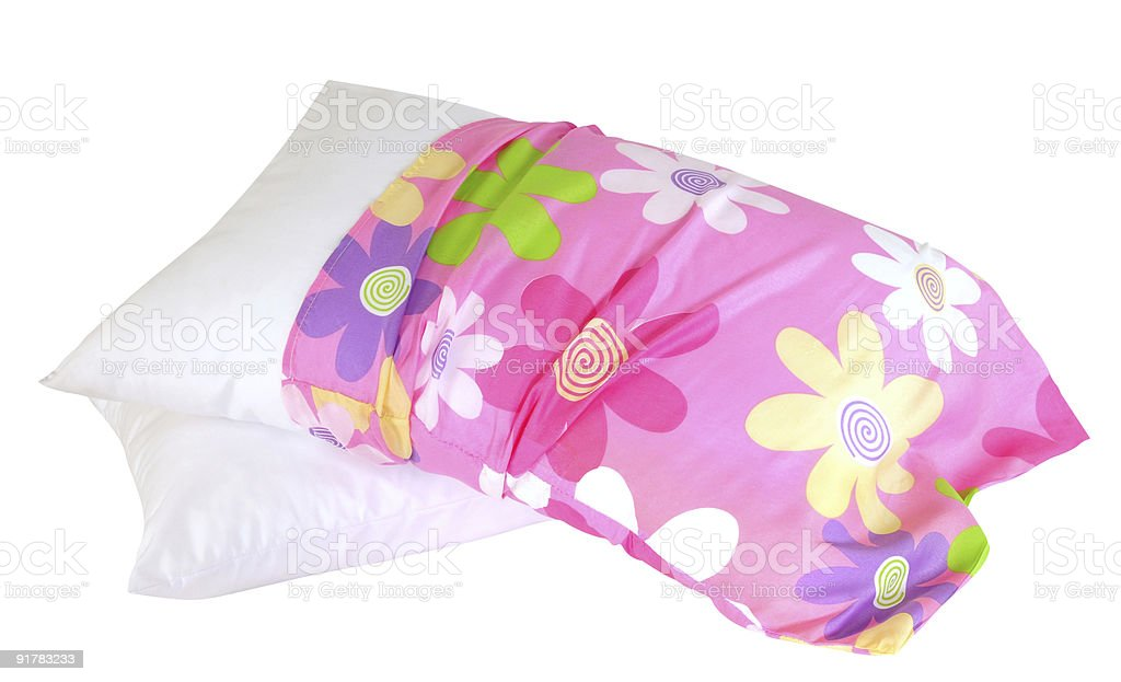 Floral pillow case. Clipping path. stock photo
