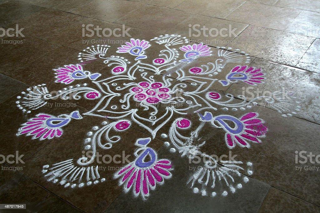 Floral Rangoli Design stock photo