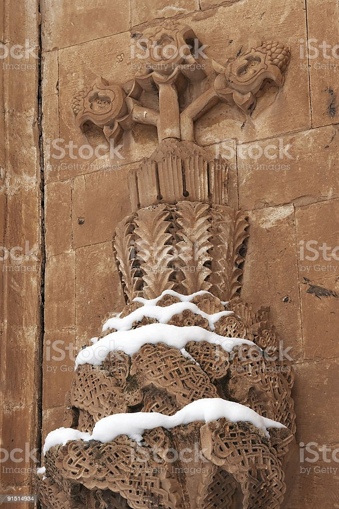 Floral stonework on Ishak Pasha Palace, Turkey royalty-free stock photo