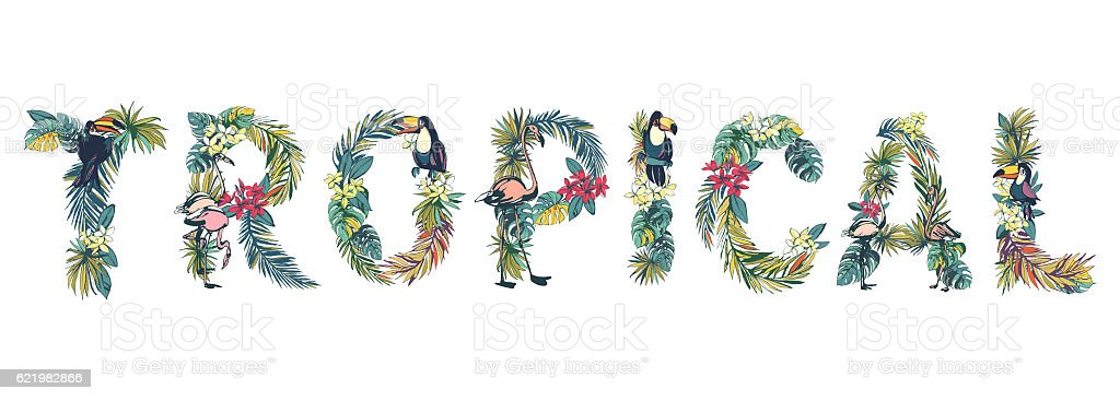 Floral summer pattern hand drawn ornamental text TROPICAL stock photo