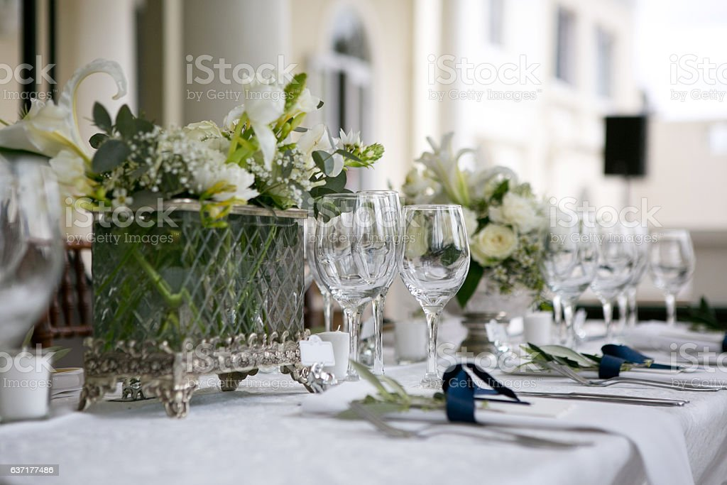 Floral table setting with flowers and a menu stock photo