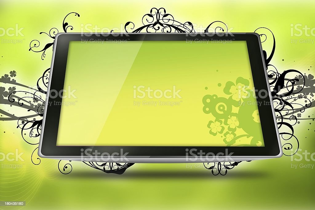 Floral Tablet stock photo