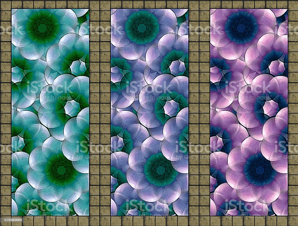 Floral Triptych Deco Wall stock photo
