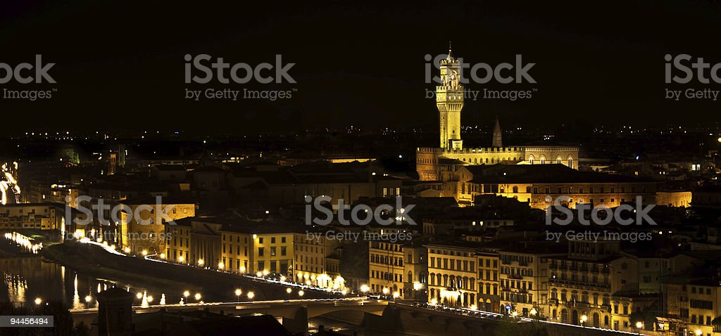 Florence, A night shot of Palazzo della Signoria royalty-free stock photo