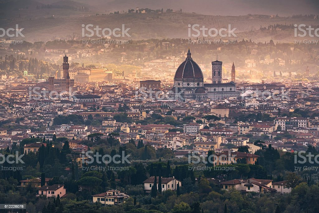 Florence aerial foggy cityscape. Panorama view from Fiesole hill stock photo