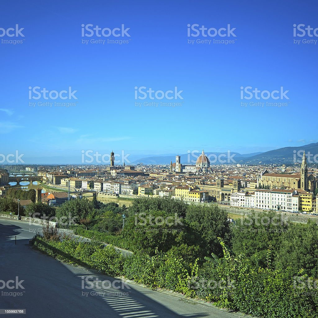 Florence aerial skyline. Panorama view from Michelangelo park square. Italy royalty-free stock photo