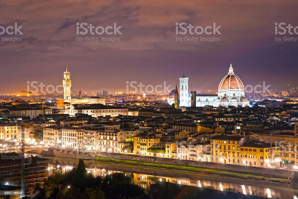 Florence at night, Italy. stock photo