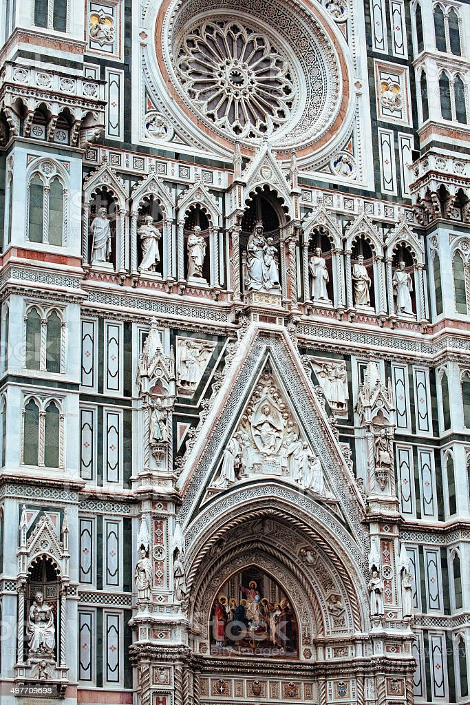 Florence cathedral façade detail stock photo