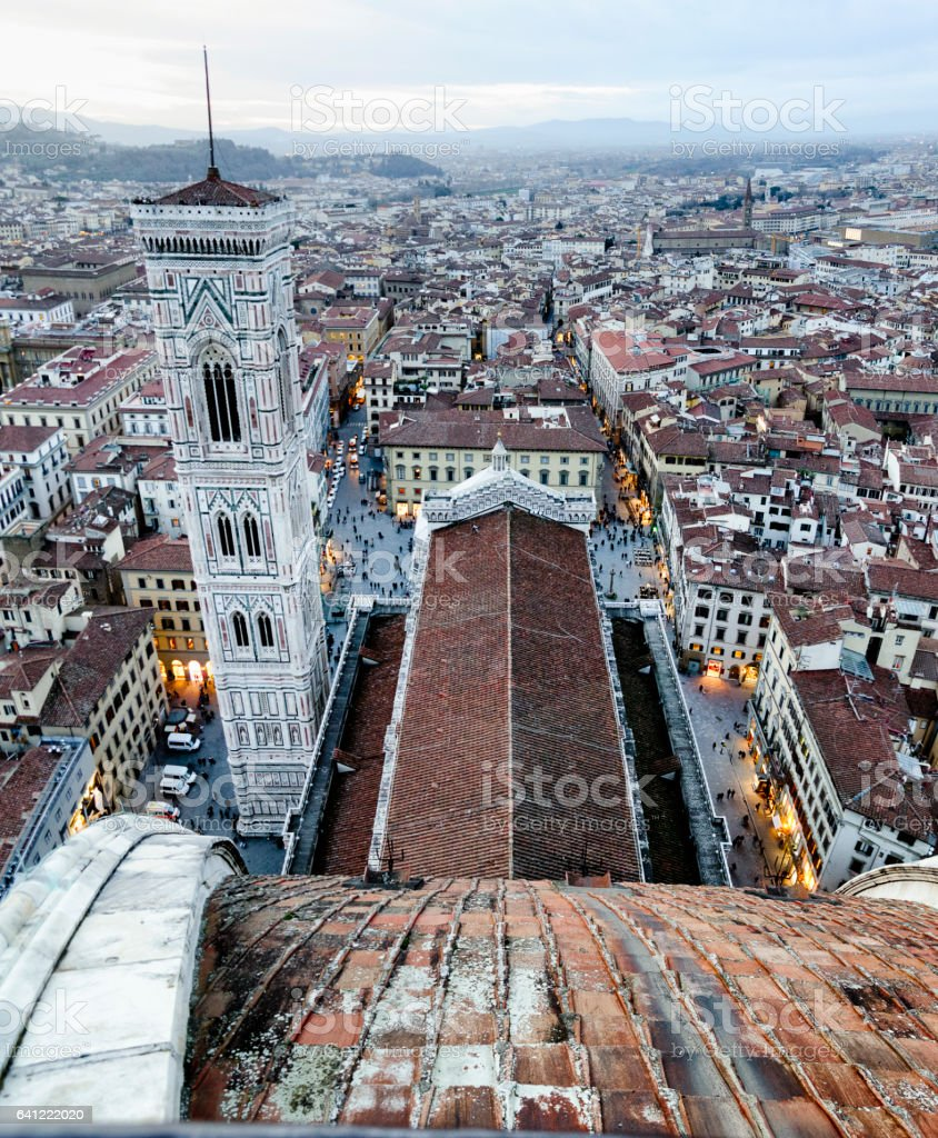 Florence City Aerial View At Sunset stock photo