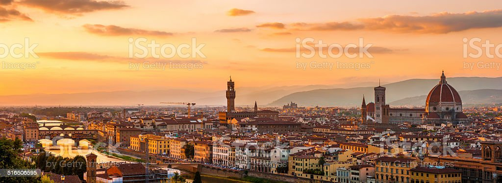Florence city during golden sunset. stock photo