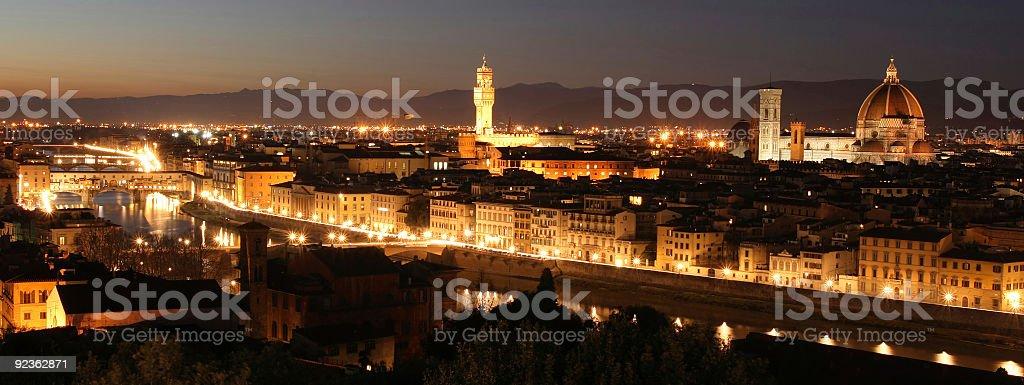 Florence City Skyline Seen By Night, Tuscany, Italy royalty-free stock photo