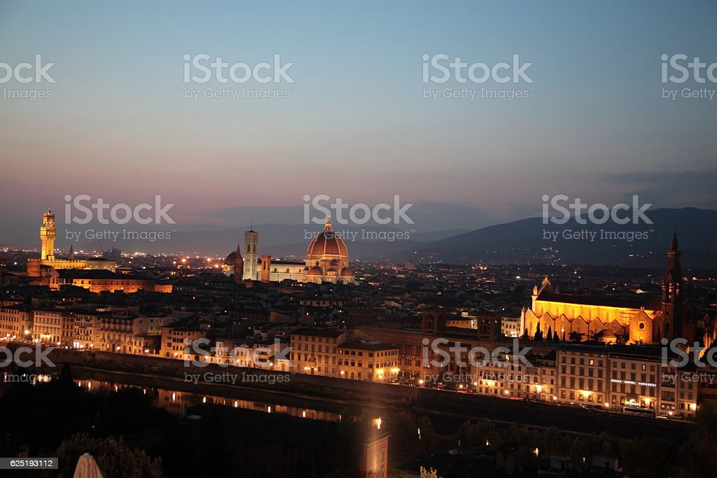 Florence city view at night Italy stock photo