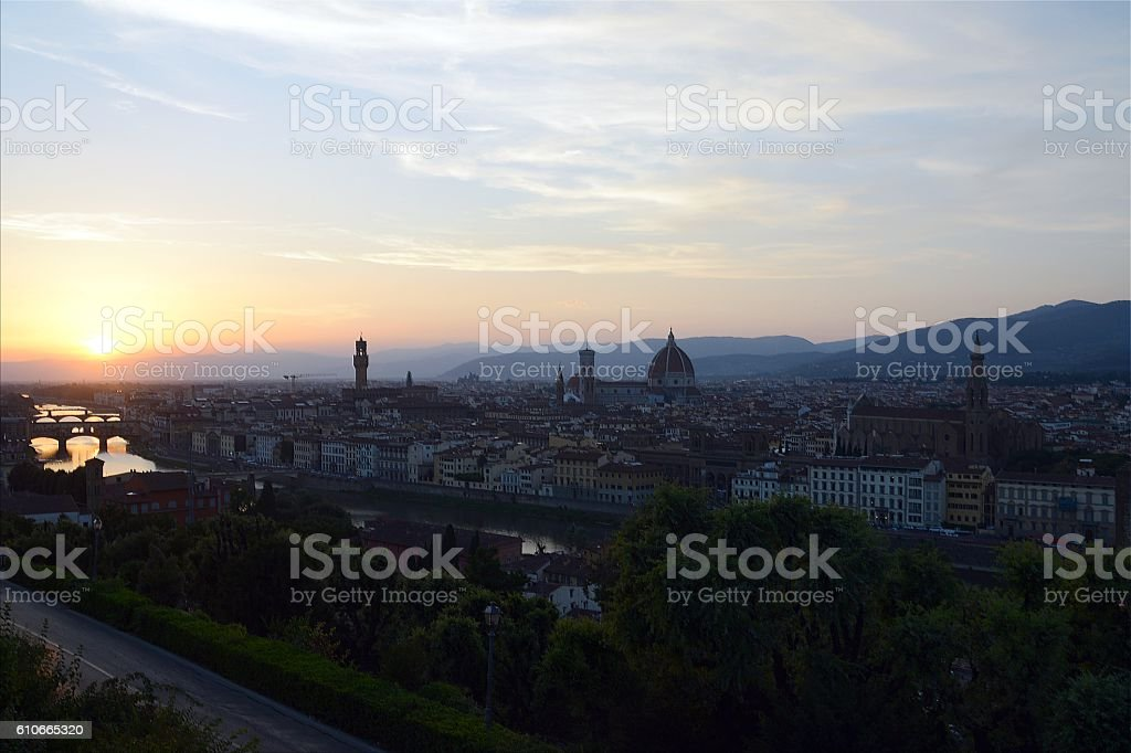 Florence cityscape at dusk, Italy stock photo