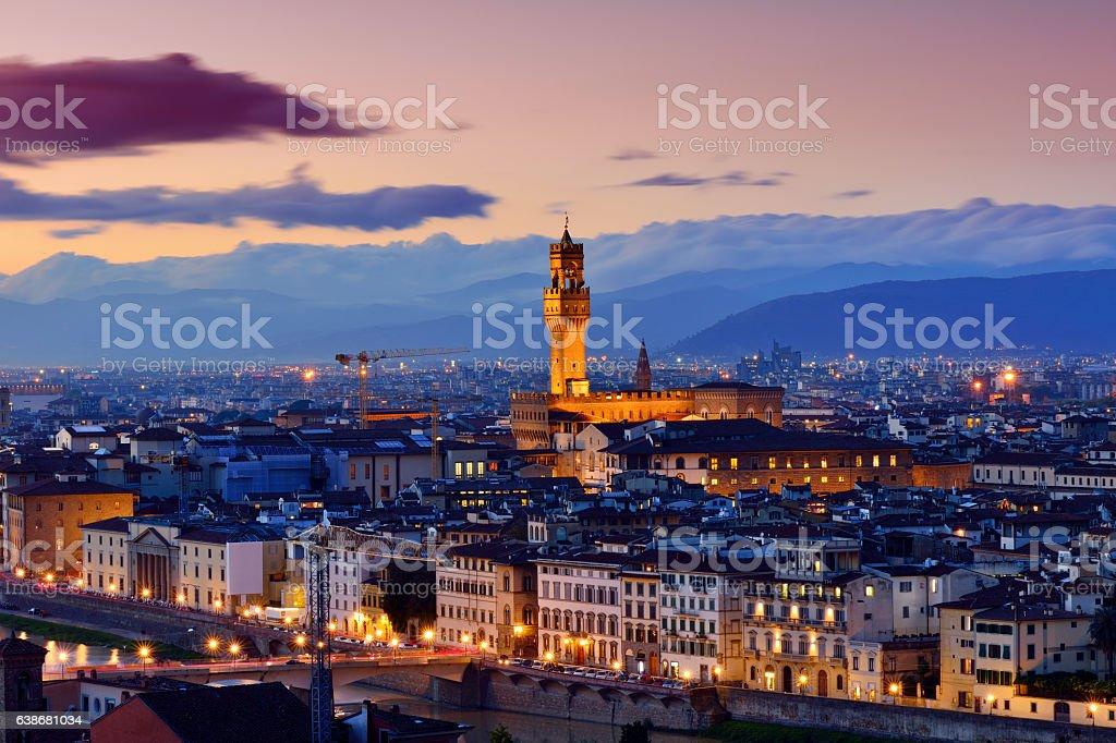 Florence Cityscape at Sunset stock photo