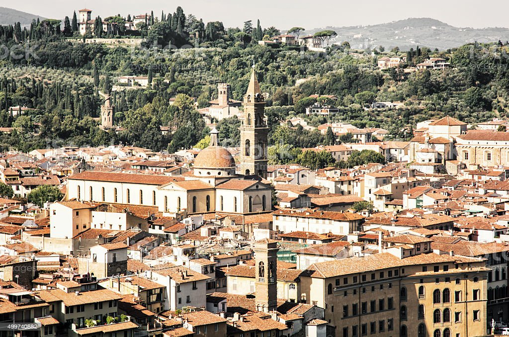 Florence cityscape, beautiful italian city of history and cultur stock photo