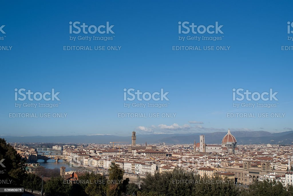 Florence cityscape. Piazzale Michelangelo, Italy. stock photo