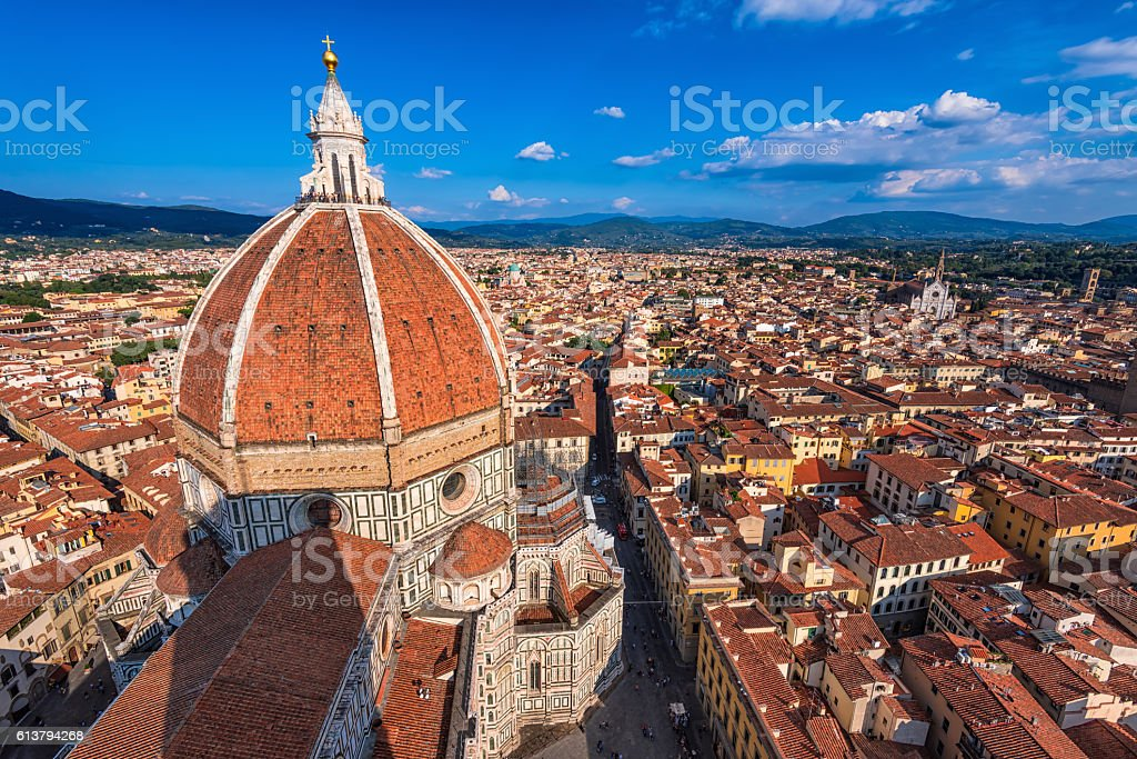 Florence Duomo and aerial view of Florence, Italy stock photo