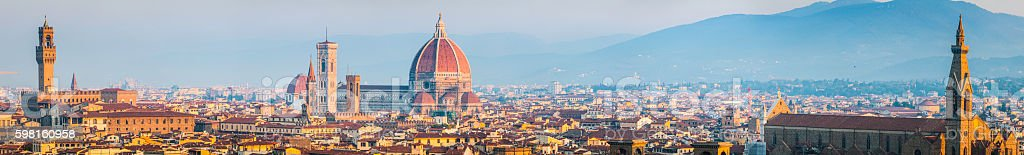 Florence Duomo Campanile and medieval spires rooftop panorama Tuscany Italy stock photo