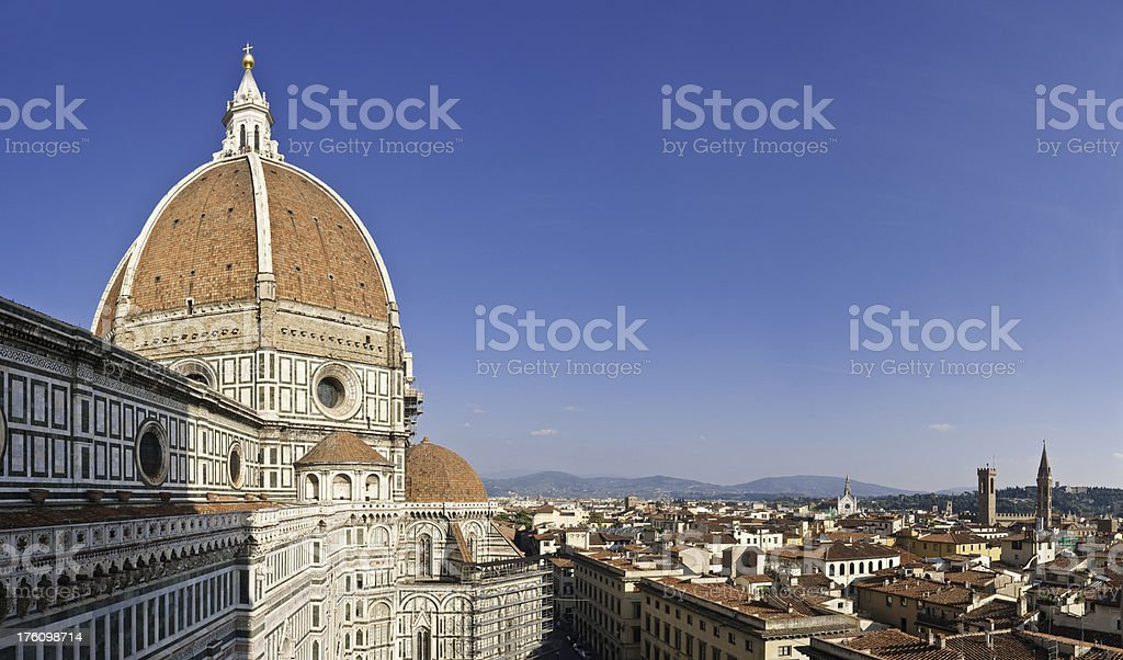 Florence Duomo dome city rooftops landmarks Tuscany Italy stock photo