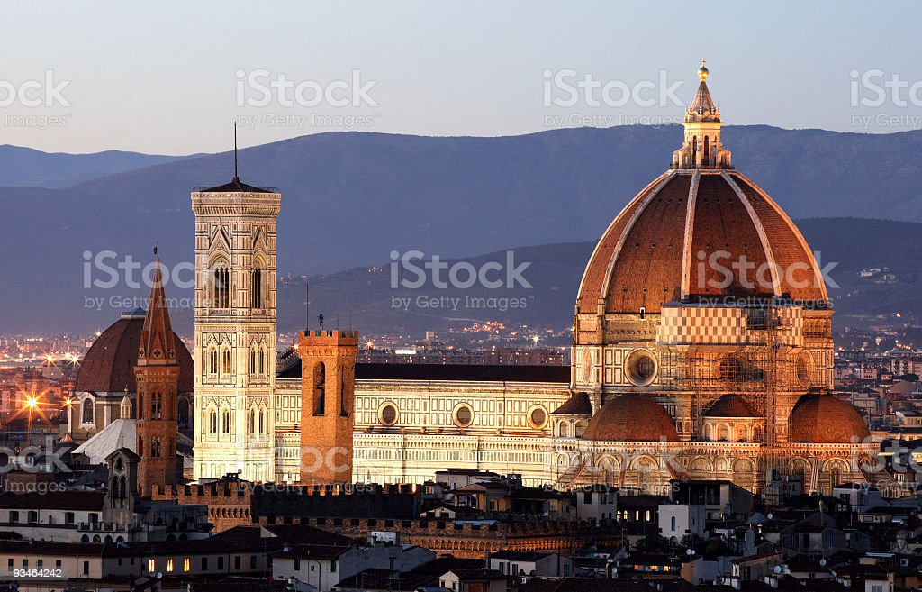 Florence Duomo Seen at Twilight royalty-free stock photo