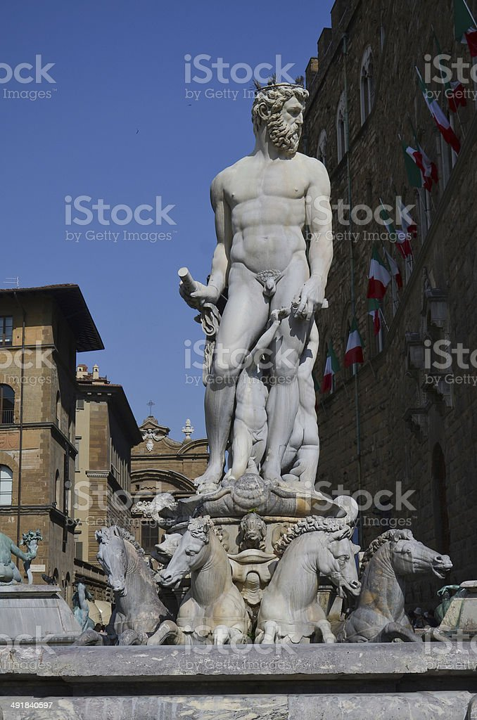 Florence Fountain of Neptune-1 stock photo