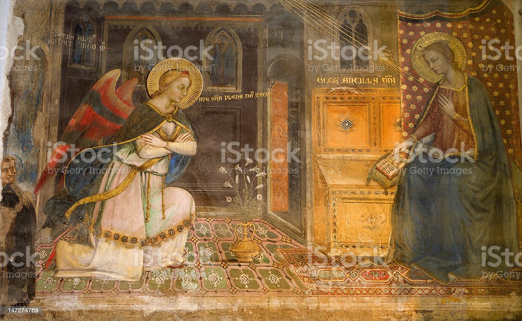Florence - fresco of Annunciation stock photo