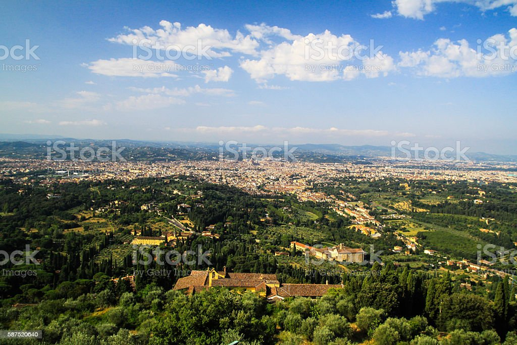 florence from fiesole stock photo