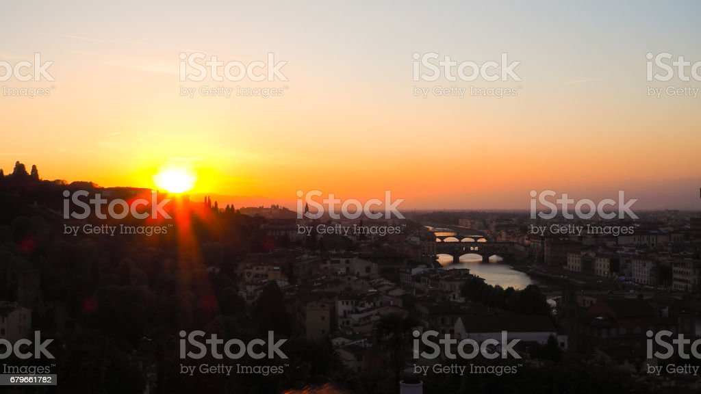 Florence from Piazza Michelangelo mountain stock photo