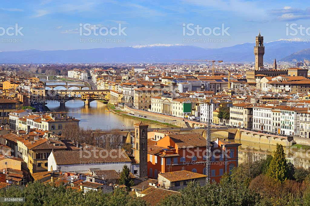 Florence from Piazzale Michelangelo, Tuscany, Italy stock photo
